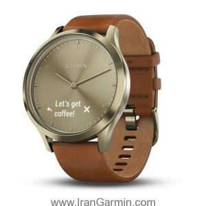 VivoMove HR Gold with Light Brown Leather Band