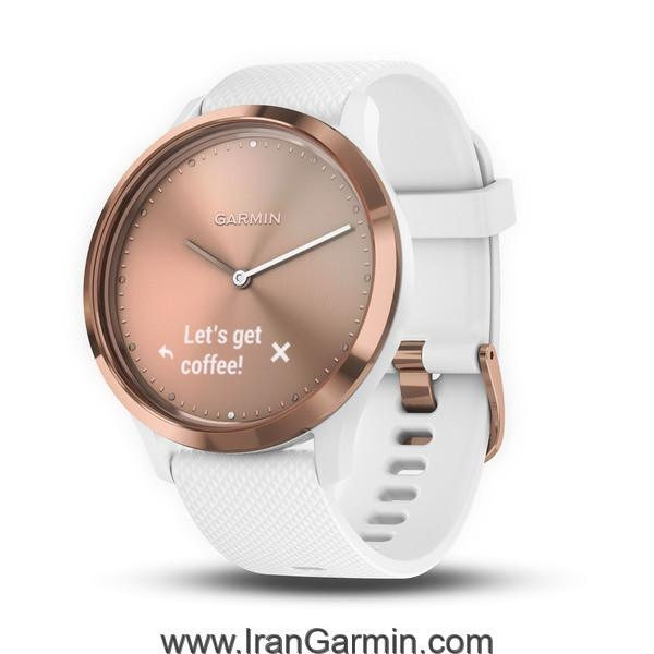 VivoMove HR Rose Gold with White Silicone Band